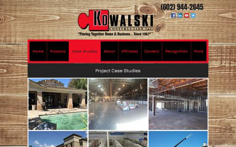 Screenshot of Case Studies Page kowalski.com - Kowalski Construction, Inc. | Case Studies - captured Oct. 16, 2018
