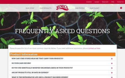 Screenshot of FAQ Page senecafoods.com - Frequently Asked Questions | Seneca Foods - captured Oct. 20, 2018