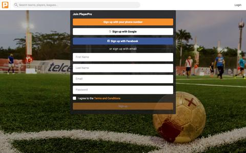 Screenshot of Signup Page getplayerpro.com - Sign up - PlayerPro - captured Nov. 1, 2017