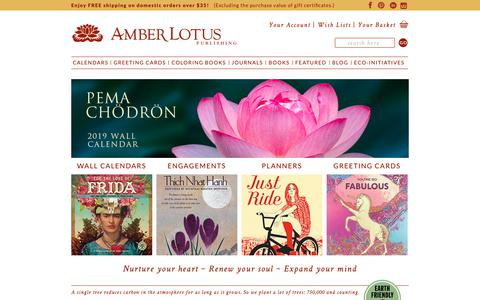 Screenshot of Home Page amberlotus.com - Amber Lotus Publishing | Calendars, Greeting Cards, Coloring Books, Journals | Mind Body Spirit - captured Oct. 3, 2018