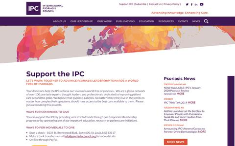 Screenshot of Support Page psoriasiscouncil.org - Support IPC - International Psoriasis Council - captured Feb. 10, 2020