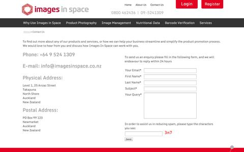 Screenshot of Contact Page imagesinspace.co.nz - Images in Space | Contact Us - captured Oct. 6, 2014