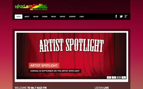 Screenshot of Home Page kazifm.org - Kazi FM 88.7 - captured Oct. 6, 2014
