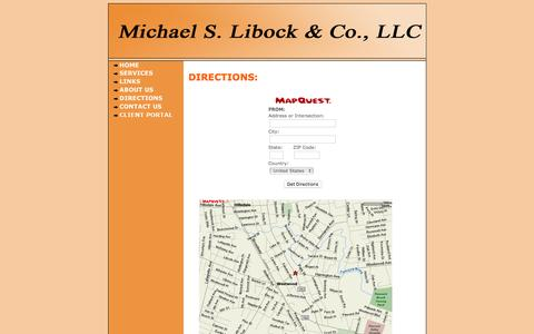 Screenshot of Maps & Directions Page libock.com - Michael S. Libock & Co., LLC, CPA's - Directions - captured Feb. 13, 2016