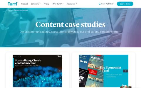 Screenshot of Case Studies Page turtl.co - Case Studies | The business value gained from our content platform | Turtl - captured Feb. 13, 2020