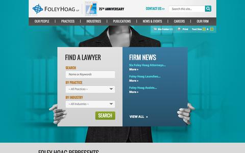 Screenshot of Home Page foleyhoag.com - Law Firm | Foley Hoag LLP - captured July 26, 2018