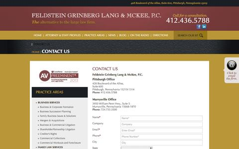 Screenshot of Contact Page fglmlaw.com - Feldstein Grinberg Lang & McKee, P.C., A Professional Corporation - captured Oct. 5, 2014