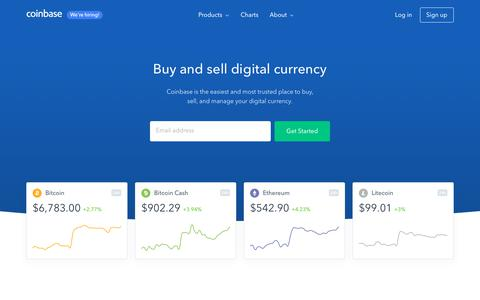 Screenshot of Home Page coinbase.com - Buy/Sell Digital Currency - Coinbase - captured June 21, 2018