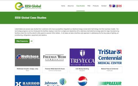 Screenshot of Case Studies Page eesiglobal.com - EESI Global Case Studies - Energy Engineering Solutions - captured Oct. 1, 2014