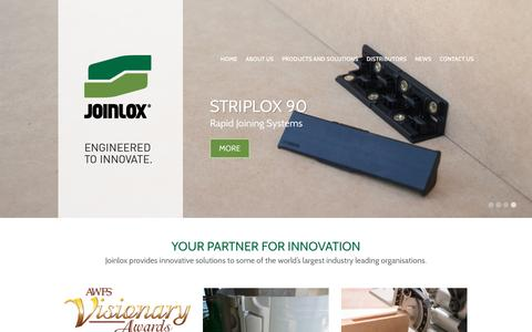 Screenshot of Home Page joinlox.com - Joinlox - Patented Mechanical Joining Systems - captured Jan. 9, 2016