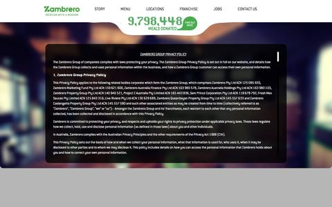 Screenshot of Privacy Page zambrero.com - Privacy Policy | Zambrero - captured Aug. 18, 2016