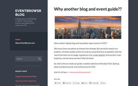 Screenshot of Blog eventbrowsr.com - EventBrowsr Blog | A Blog about networking in #NYC: All the best events and getting the most out of it. - captured Nov. 12, 2016