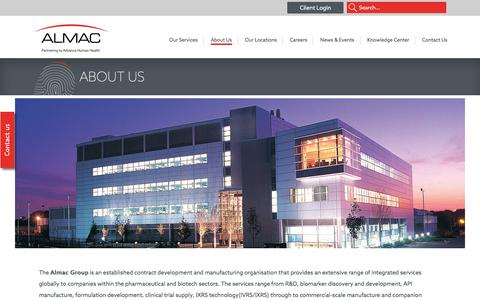 Screenshot of About Page almacgroup.com - About Us - Almac - captured July 25, 2016