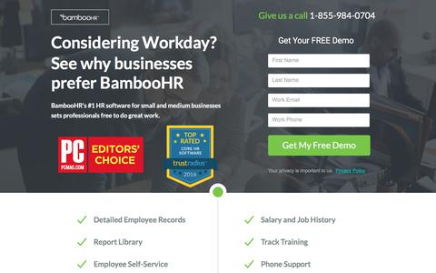 Screenshot of Landing Page bamboohr.com - BambooHR | #1 HRIS for Small and Medium Businesses - captured July 27, 2017