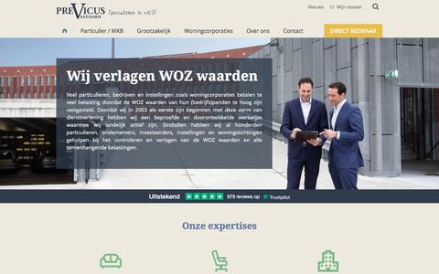 Screenshot of Home Page previcus.nl - Previcus vastgoed - De zakelijke WOZ specialist van Nederland! - captured Sept. 25, 2018