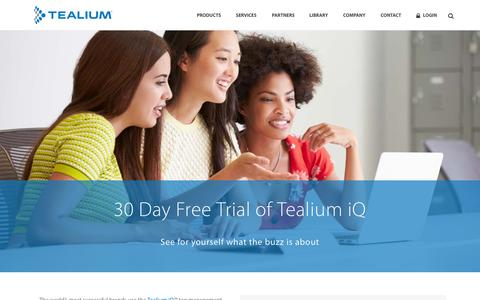 Screenshot of Trial Page tealium.com - Tealium iQ Free Trial | Tealium - captured July 3, 2015
