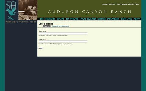 Screenshot of Login Page egret.org - User account | Audubon Canyon Ranch - captured Oct. 4, 2014
