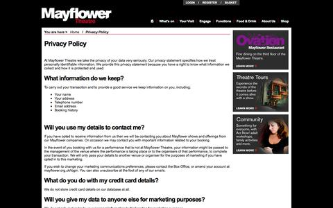 Screenshot of Privacy Page mayflower.org.uk - Privacy Policy - Mayflower Theatre, Southampton - captured Oct. 27, 2014
