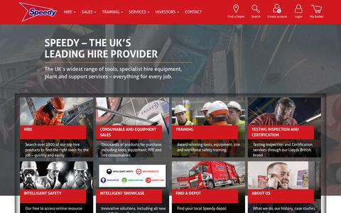 Screenshot of Home Page speedyservices.com - Speedy Services | Equipment and Tool Hire - captured Sept. 19, 2018