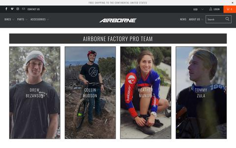 Screenshot of Team Page airbornebicycles.com - Pro Team / Airborne Bicycles - captured July 29, 2018