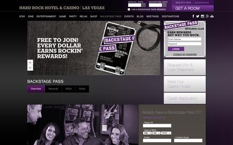 Screenshot of Signup Page hardrockhotel.com - Casino Backstage Pass | Hard Rock Hotel and Casino - captured Sept. 25, 2014