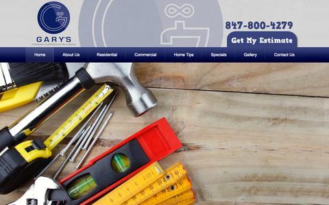 Screenshot of Home Page 800gary.com - Chicago Handyman | Gary's Handyman and Bathroom Remodeling - captured Sept. 20, 2015