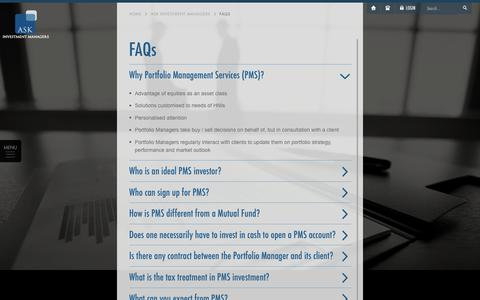 Screenshot of FAQ Page askfinancials.com - ASK Investment Managers - FAQs - captured Oct. 7, 2017