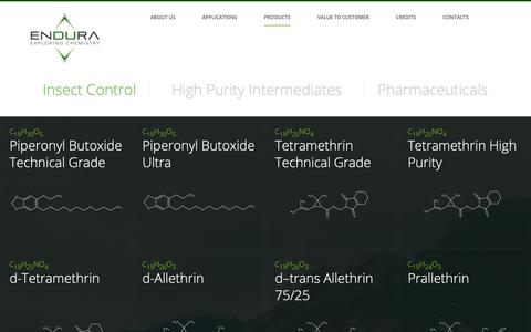 Screenshot of Products Page endura.it - Insect Control | Endura - captured Dec. 15, 2018