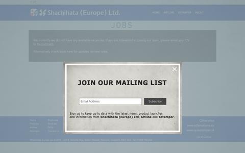 Screenshot of Jobs Page shachihata.eu - JOBS | Cheshire | Shachihata (Europe) Ltd - captured Oct. 18, 2018