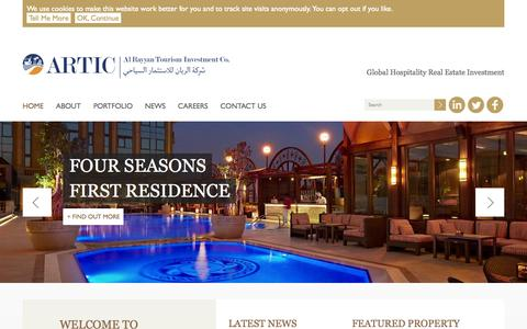 Screenshot of Home Page artic.com.qa - Al Rayyan | Tourism Investment Co. (ARTIC) - captured Sept. 10, 2015