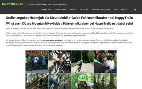 Screenshot of Jobs Page happytrails.de - Stellenangebot Nebenjob als Mountainbike-Guide Fahrtechniktrainer bei HappyTrails | HappyTrails.de - captured March 27, 2017