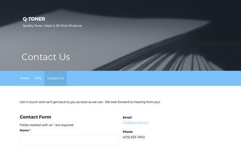Screenshot of Contact Page qtoner.com - Contact Us – Q-Toner - captured July 29, 2017