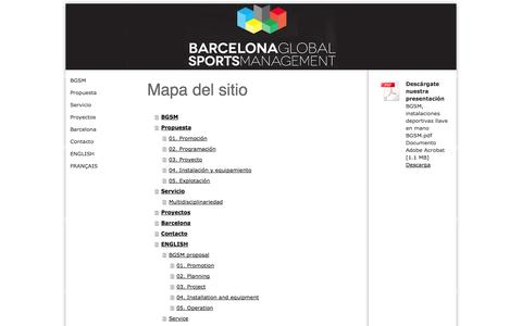 Screenshot of Site Map Page bcnglobalsports.com - Mapa del sitio - Barcelona Global Sports Management - captured Oct. 4, 2014