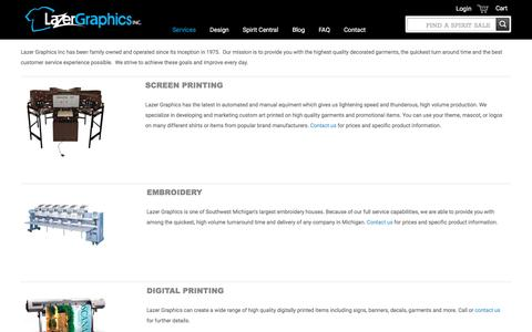 Screenshot of Services Page lazergraphicsinc.com - Services - captured May 15, 2017