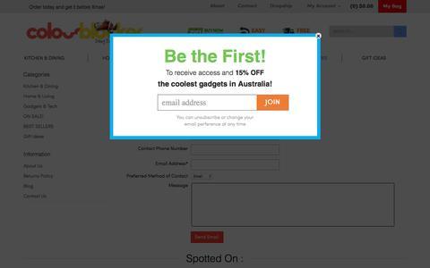 Screenshot of Contact Page colourblocker.com.au - Contact Us - captured Jan. 30, 2016