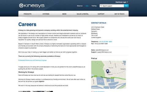 Screenshot of Jobs Page kinesys.co.uk - Kinesys  - jobs - captured Aug. 9, 2016