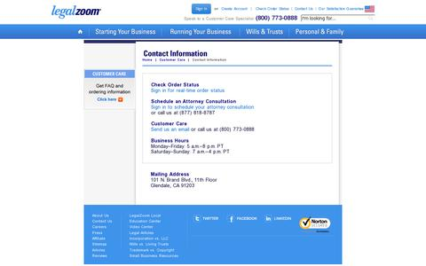 Screenshot of Contact Page legalzoom.com - Customer Support - Contact Us - LegalZoom - captured July 18, 2014