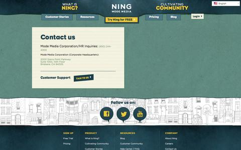 Screenshot of Contact Page ning.com - Contact us | Ning.com - captured June 16, 2015