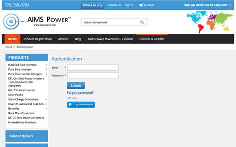 Screenshot of Login Page aimscorp.net - Power Inverters, DC To AC Inverters & Solar Panels | AIMS Power - captured June 24, 2017