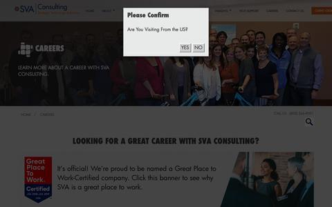Screenshot of Jobs Page sva.com - SVA Consulting - Careers | Madison Milwaukee Appleton WI - captured Nov. 13, 2018