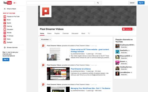 Screenshot of YouTube Page youtube.com - Pixel Dreamer Videos  - YouTube - captured Oct. 22, 2014