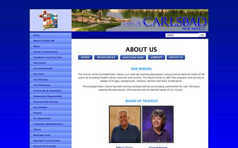 Screenshot of About Page cityofcarlsbadnm.com - About the Library - captured Oct. 2, 2014