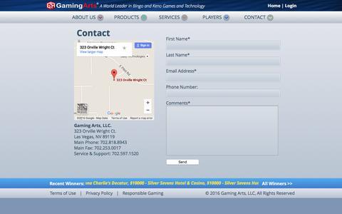 Screenshot of Contact Page gamingarts.com - Gaming Arts - A World Leader in Bingo and Keno Games and Technology - captured Jan. 21, 2016