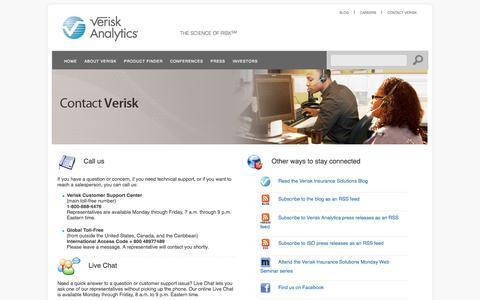 Screenshot of Support Page verisk.com - Contact Verisk - captured Sept. 19, 2014