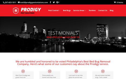 Screenshot of Testimonials Page prodigypestsolutions.com - Testimonials - Philadelphia Bed Bug Exterminator | Prodigy Pest Solutions - captured July 22, 2018