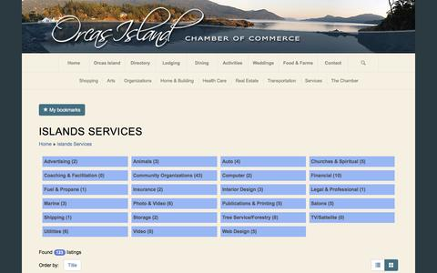 Screenshot of Services Page orcasislandchamber.com - Orcas Island Chamber of Commerce | Islands Services  Orcas Island Chamber of Commerce - captured Sept. 3, 2016