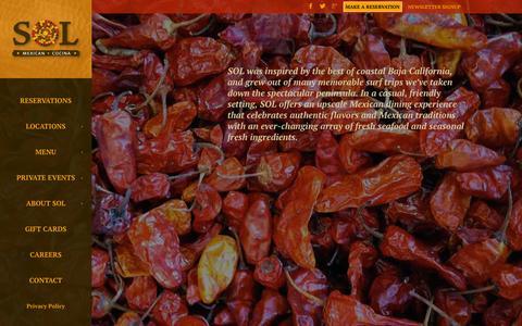 Screenshot of Home Page solcocina.com - SOL Cocina - Mexican Restaurant, Newport Beach, Scottsdale - captured Sept. 16, 2015