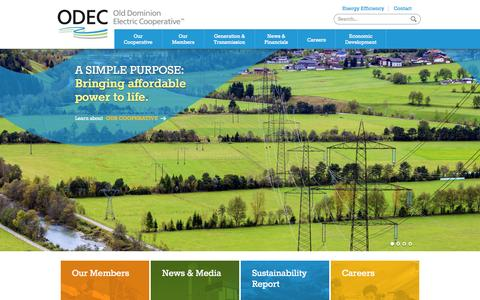 Screenshot of Home Page odec.com - Electric Generation and Transmission | Old Dominion Electric Cooperative - captured Jan. 14, 2015