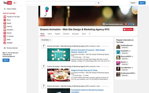 Screenshot of YouTube Page youtube.com - Dreams Animation - Web Site Design & Marketing Agency NYC  - YouTube - captured Oct. 23, 2014