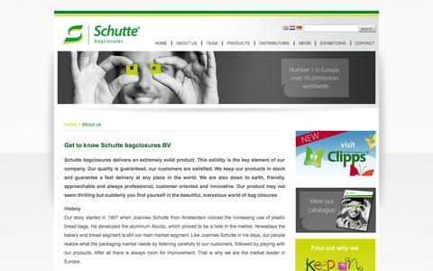 Screenshot of About Page schutte.nl - Schutte.nl - Get to know Schutte bagclosures BV - captured Oct. 4, 2014